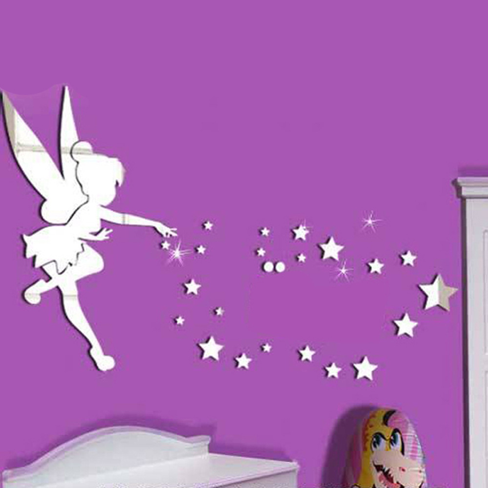 mirrored decorative tinker bell wall stickers home decoration wall art mirrored butterfly pvc wall stickers mirror art decal decor modern