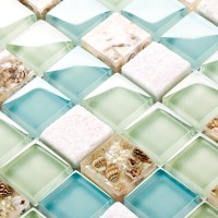blue color crystal glass mixed sea shell mosaic HMGM1148 ...