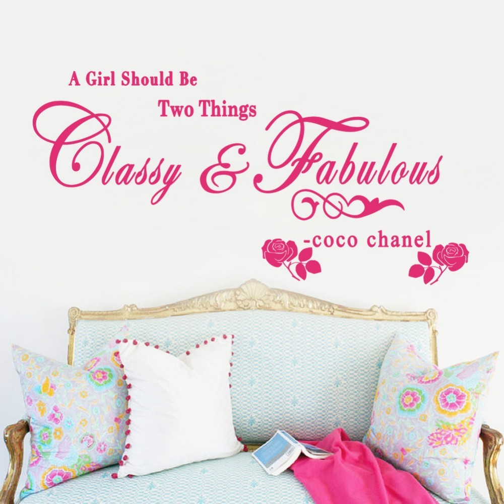 coco chanel wall stickers girls room pink black color living room pics photos wall decals girls room stickers princess flower