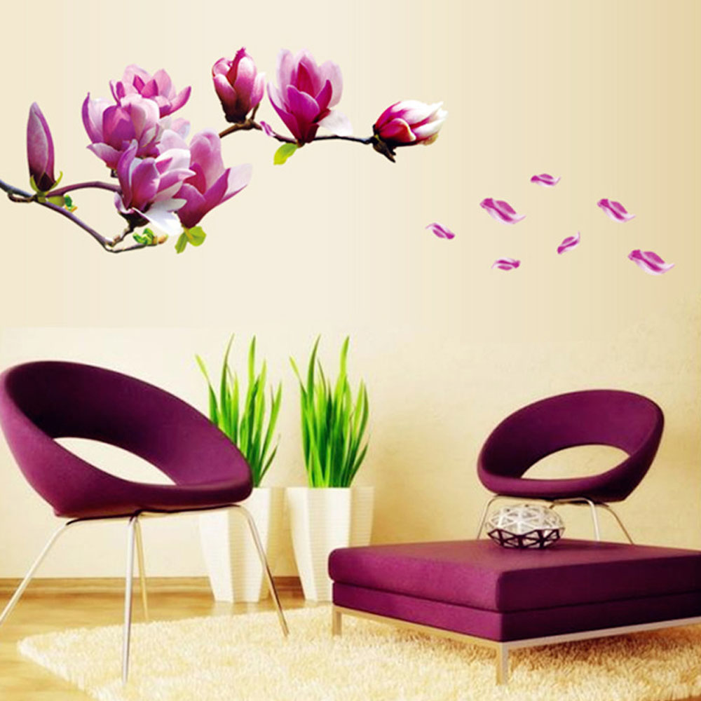 magnolia flowers removable wall art decals vinyl stickers wallpaper wallpaper wall stickers colour options interiorinstyle wall