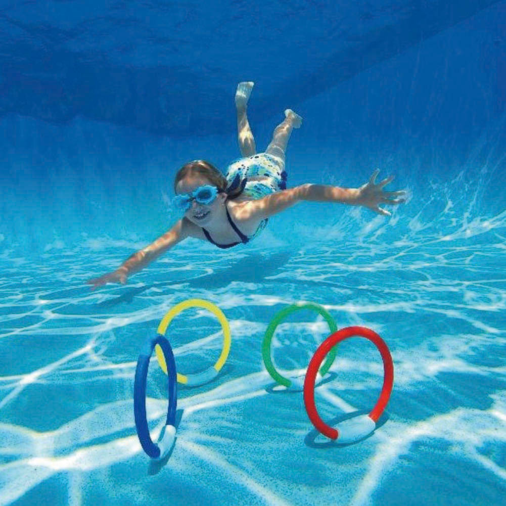 Poolzubehör Fun 4pcs Lot Dive Ring Swimming Pool Accessory Toy Swimming Aid For Children Water Play Sport Diving Beach Summer Toy Kids Pool Fun