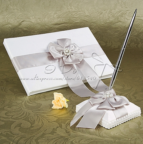 Free Shipping White Wedding Guest Book And Pen Set Wedding