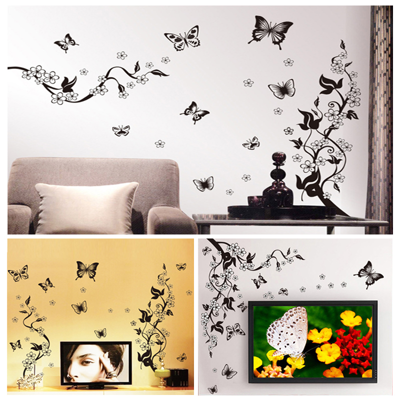diy flower vine butterfly wall stickers home decor art decals vine tree large wall decals stickers appliques home decor