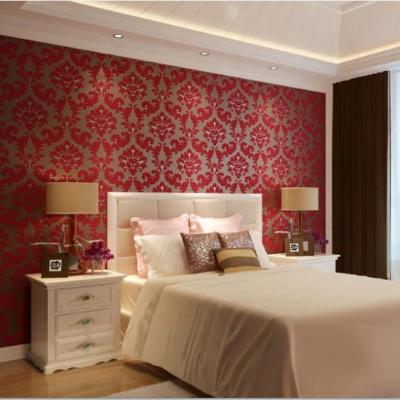 Romantic European Velvet 3D Background Wallpaper Red Living Room Wall paper Floral Wallcovering ...