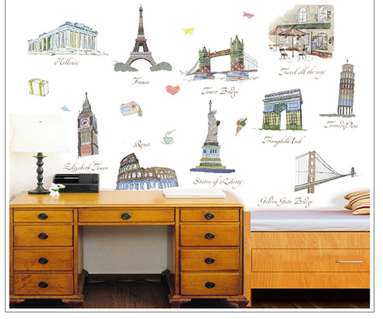 wall sticker poster home decoration travel wall decals photo wallpaper customizable care bear wall decals