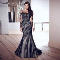 Elegant long black evening dress robe mermaid Prom Dresses ...