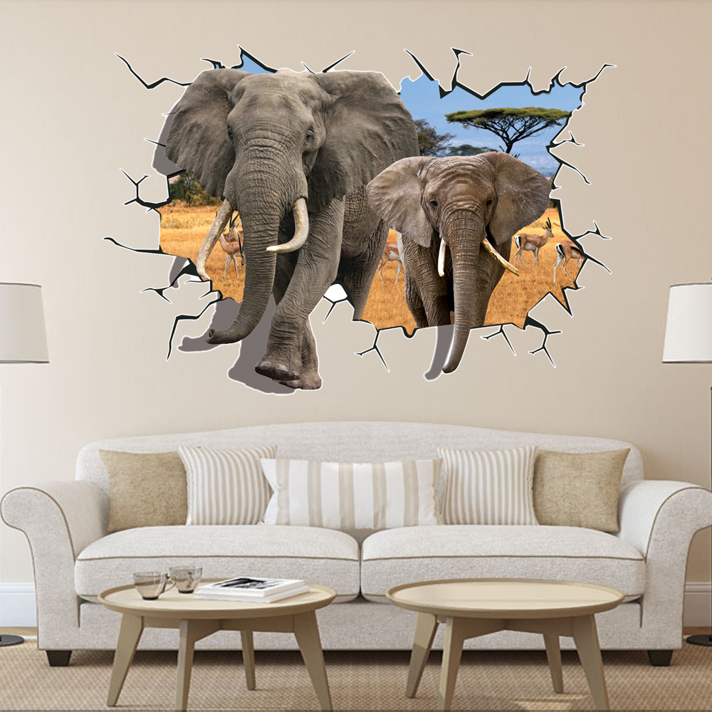 3d Wall Decor 8006 Hot Selling Delicate African Animal Elephants Antelope Wall Sticker Bedroom 3d Wall Decor 70 100cm Home Decor Free Shipping