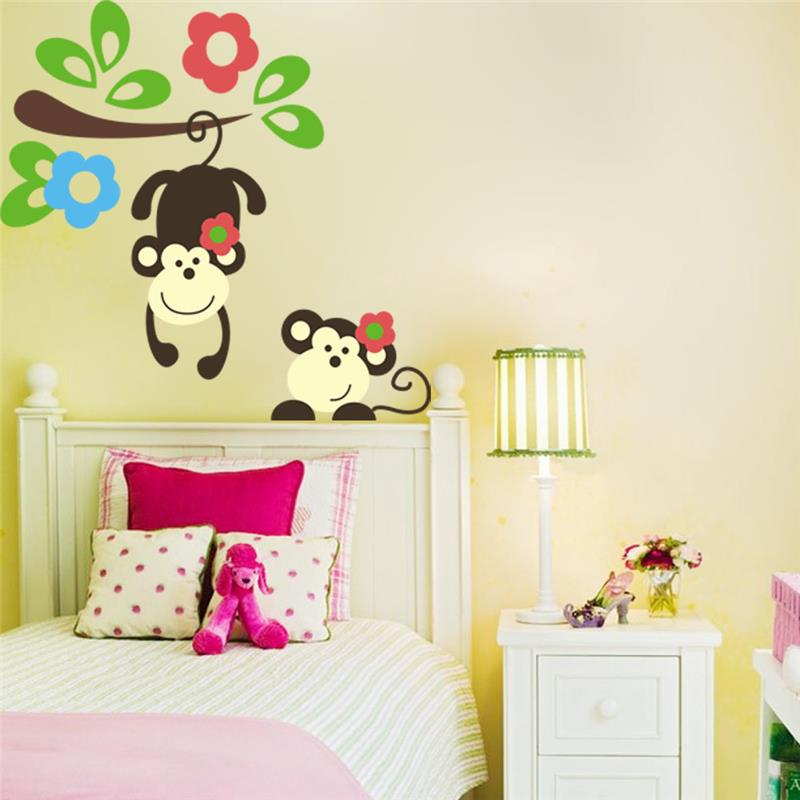 kawaii monkey hang tree wall stickers kids bedroom decoration monkey giraffe jungle wall sticker stickers wall