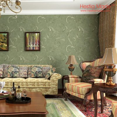 Non woven wallpaper American Antique Style Dark Green wallpaper for Living room Bedroom wall ...