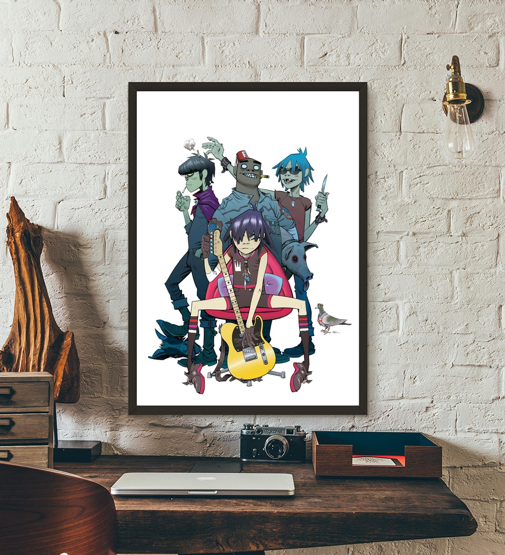 Arte Vietnam English Gorillaz English Virtual Band Music Movie Wall Art Wall Decor Silk Prints Art Poster Paintings For Living Room No Frame