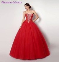 Graceful Ball Gown Red Shining Crystal Sweetheart Prom ...