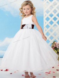 2015 Free Shipping White Flower Girl Dress Ball Gown ...