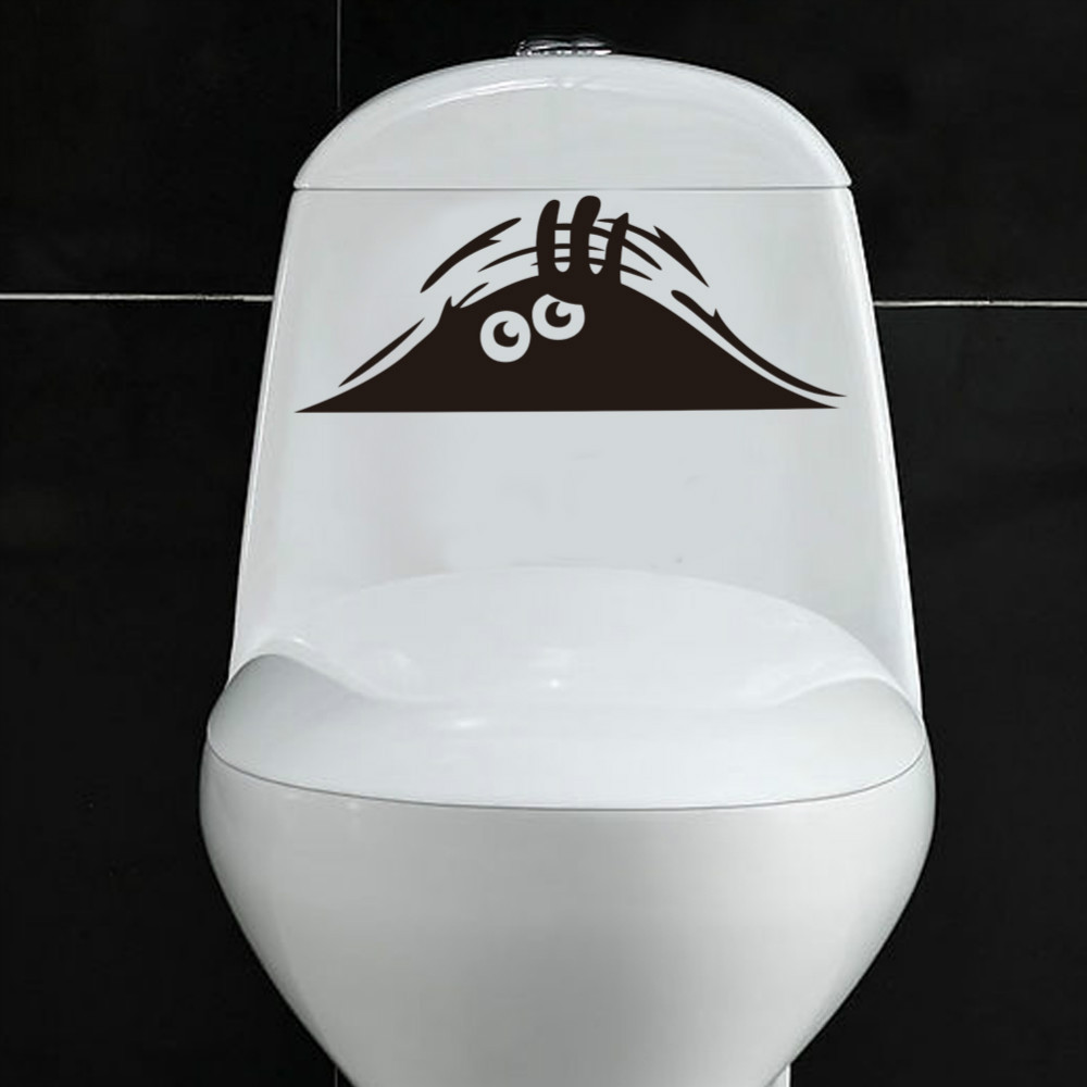 funny monster watch toilet car stickers wall decal removable art home wall stickers toilet idiomas