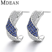 - MDEAN Stud Earrings for women White Gold Plated CZ ...