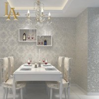 European Simple Luxury Beige Grey 3D Damask Wallpaper