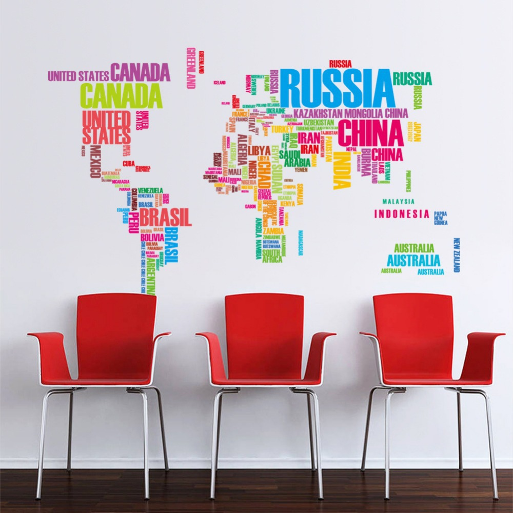 colorful letters world map wall sticker mural removing vinyl wallpaper wallpaper wall stickers colour options interiorinstyle wall