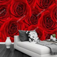 Custom floral wallpaper, red rose, 3D photo wallpaper for