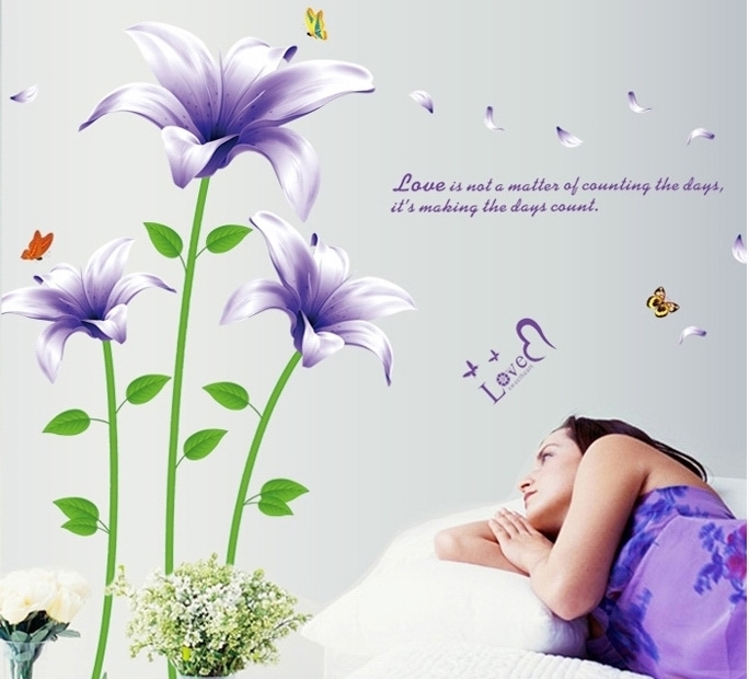 large purple lily flower wall sticker decals plants removal vinyl pics photos lively flowers large wall decals stickers appliques home