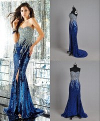 2015 Real Sample Royal Blue Crystal Mermaid Sequin Evening