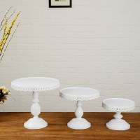 White Cake Plate. Pedestal Footed Cake Stand with