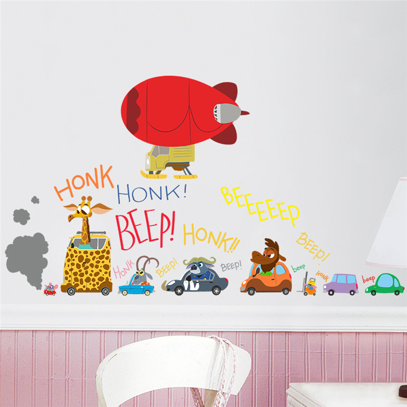shipping zootopia cartoon movie wall stickers home decor kids movie wall decals wall decal flying bike ambiance sticker