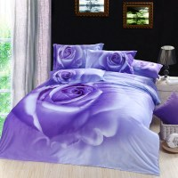 3D Lilac purple rose floral flower bedding comforter set ...
