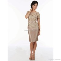 Champagne Lace Knee Length Short Sleeves Mother of the ...