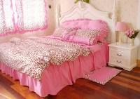 Korean pink leopard print princess bedding comforter set ...