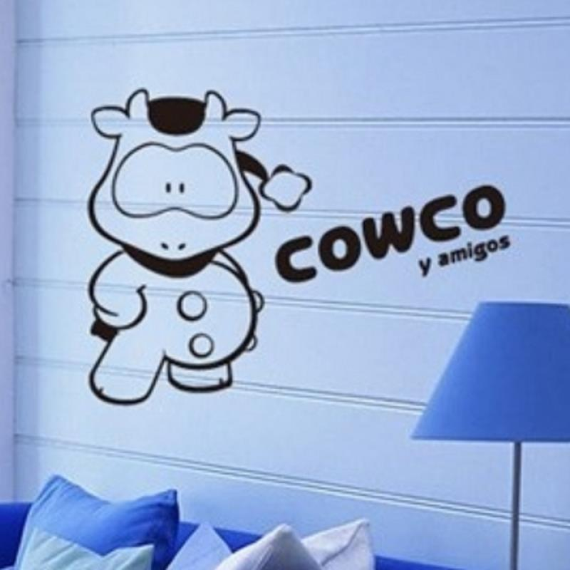 vaca negro extraíble tatuajes de pared mural home art diy decoració decor wall art wall decor wall stickers shopclues