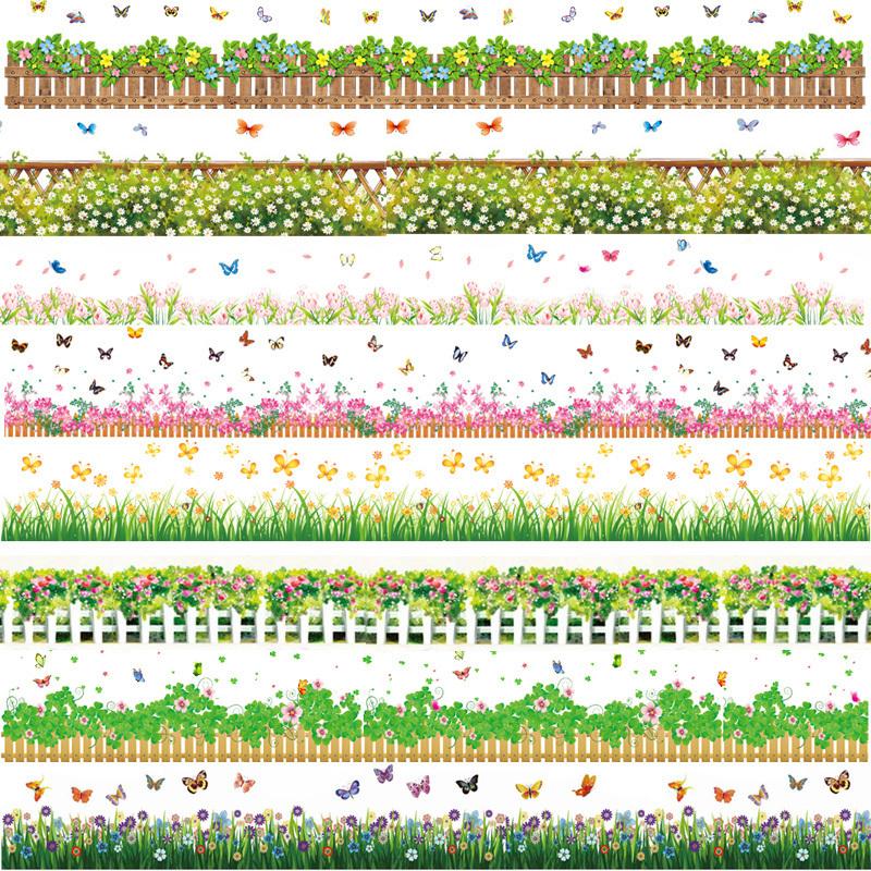 waterproof flowers border wallpaper wall stickers removable garden woodland animals wall sticker border stickers wall