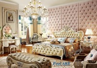 high end solid wood and leather bed Baroque bedroom ...