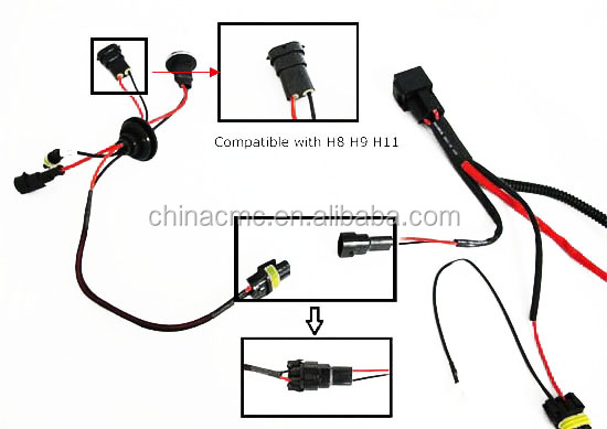 hid headlight wiring harness