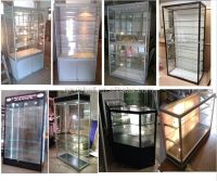 Wall mounted glass display cases, metal storage cabinets ...