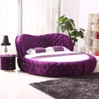 2015 Luxury Fabric Round Bed Circle Bed Frame On Sale ...