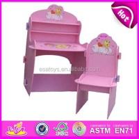 Pink Kids Wooden School Desk And Chair,Wooden Toy Children ...