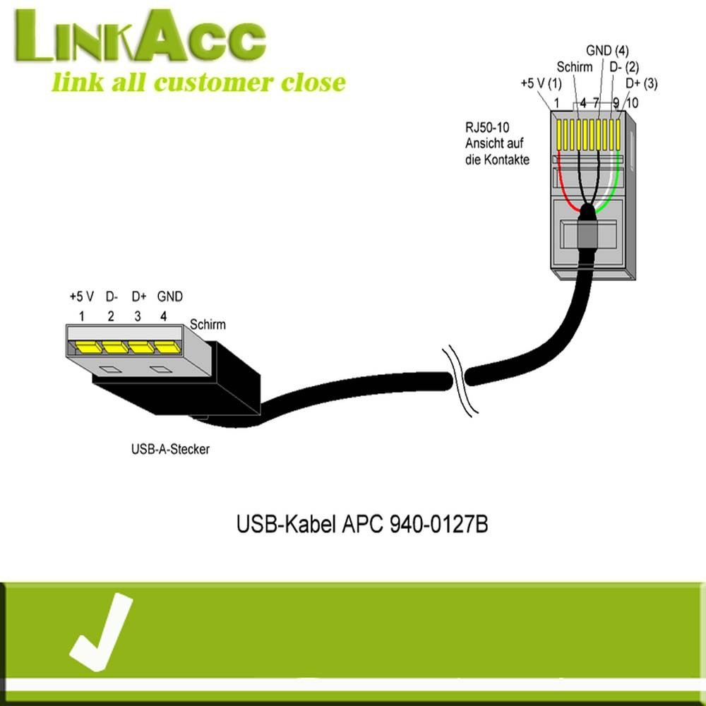 linkacc-nc1 usb a male to rj50 10p10c for a-pc cable