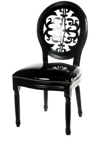 Luxury most popular leather banquet chair black louis ...