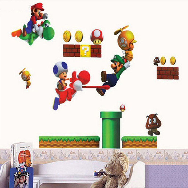 sale super mario bros pvc removable wall sticker home decor super mario bros wii wall stickers stickers wall