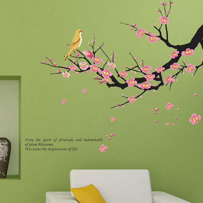 sale plum tree bird wall stickers home decor living room decals diy sale wall sticker commercial window wall stickers christmas