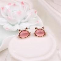 10Pair/lot Opal Cat Kitten Shaped Stud Earrings Tiny Pink ...