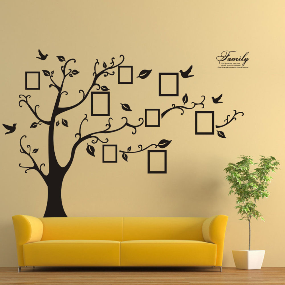 wall stickers home decor family picture photo frame tree wall photo frames wall stickers binary box notonthehighstreet