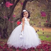 Aliexpress.com : Buy White Pearl Couture Flower Girl Tutu ...