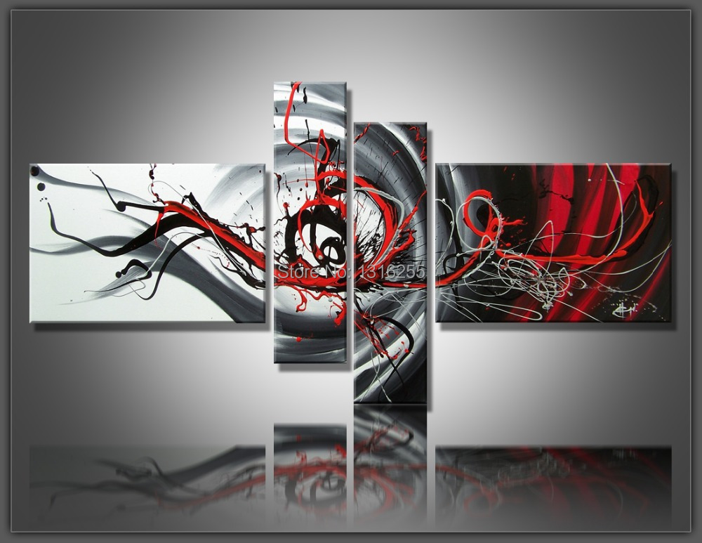 4 pcs/set Large Canvas Art Abstract Oil Painting Black