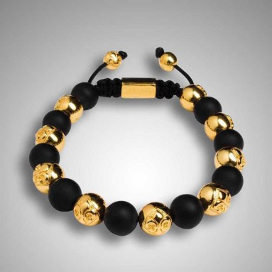gold shamballa bracelets with black beads