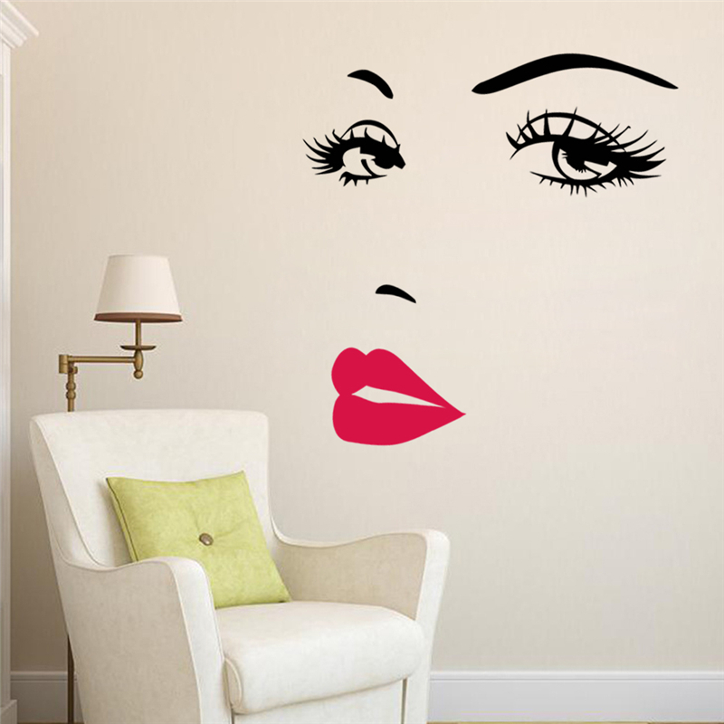 sexy girl lip eyes wall stickers living bedroom decoration zooyoo wall sticker girl bedroom grasscloth wallpaper