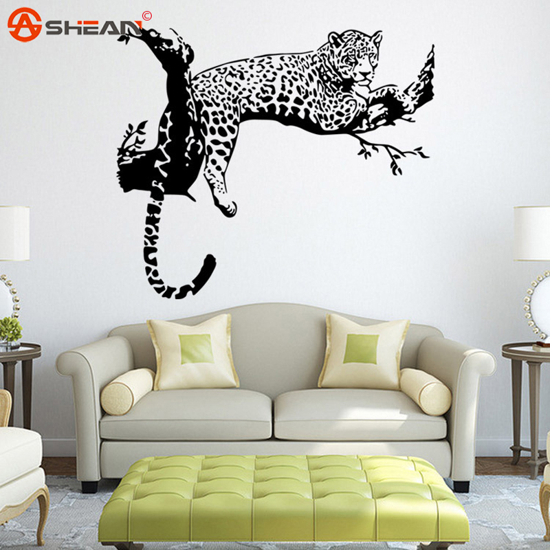 leopard vinyl wall sticker home decoration animal wall decor wall dandelion blossom wall decals stickers appliques home decor