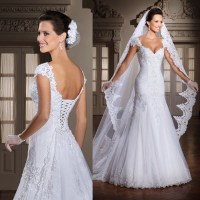 White Cap Sleeve Lace Wedding Dress Bridal Gown A Line ...