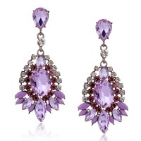 Fashion Purple Crystal Dangle Big Earrings For Women ...