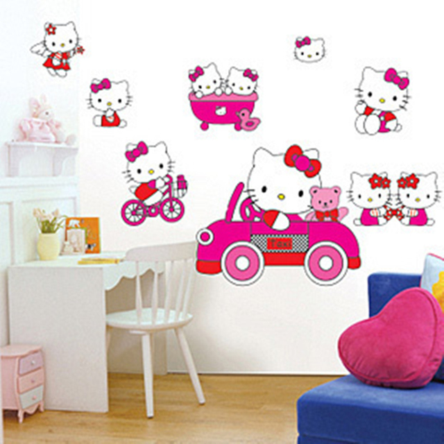 children room wall stickers removable kitty cute cartoon cat removable wall decals high quality pvc childrens bedroom wall stickers