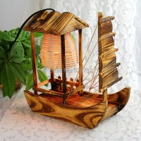 The creative wooden hut sailing craft desk lamp wooden ...
